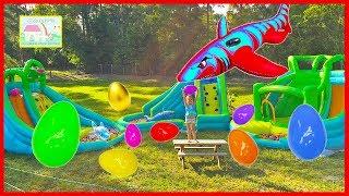 Huge Surprise Eggs Hunt on 3 Giant Inflatable Water Slides! Hailey Finds Golden Egg