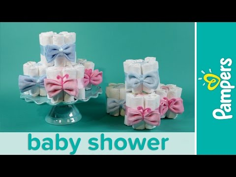 How to Make Mini Diaper Cakes   Pampers Gender Reveal Baby Shower Ideas