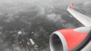 Lion Air PK-LKR wet morning takeoff from Syamsudin Noor Airport in Banjarmasin