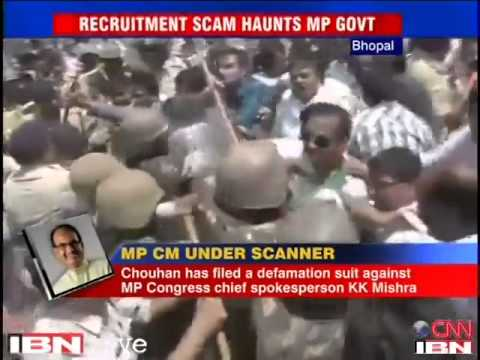 Congress workers protest against Chouhan, demand CBI probe in recruitment scam