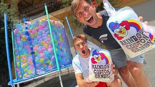 TRAMPOLINE FILLED WITH COTTON CANDY! (COMPLETELY FULL)