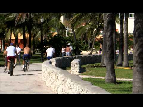 People walking, biking, rollerblading on a path in Miami.