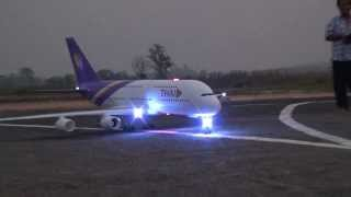 RC Chiangrai Thailand A380 with light sign at Rimchorn flying club(Meeting 2014)