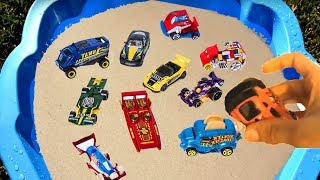 Learn Colors With Colorful Cars and Trucks in Blue Sand Tub Pool Toys For Kids