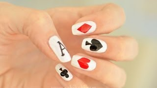 Kalp Deseni ve İskambil Manikürü (Playing Cards Nail Art)