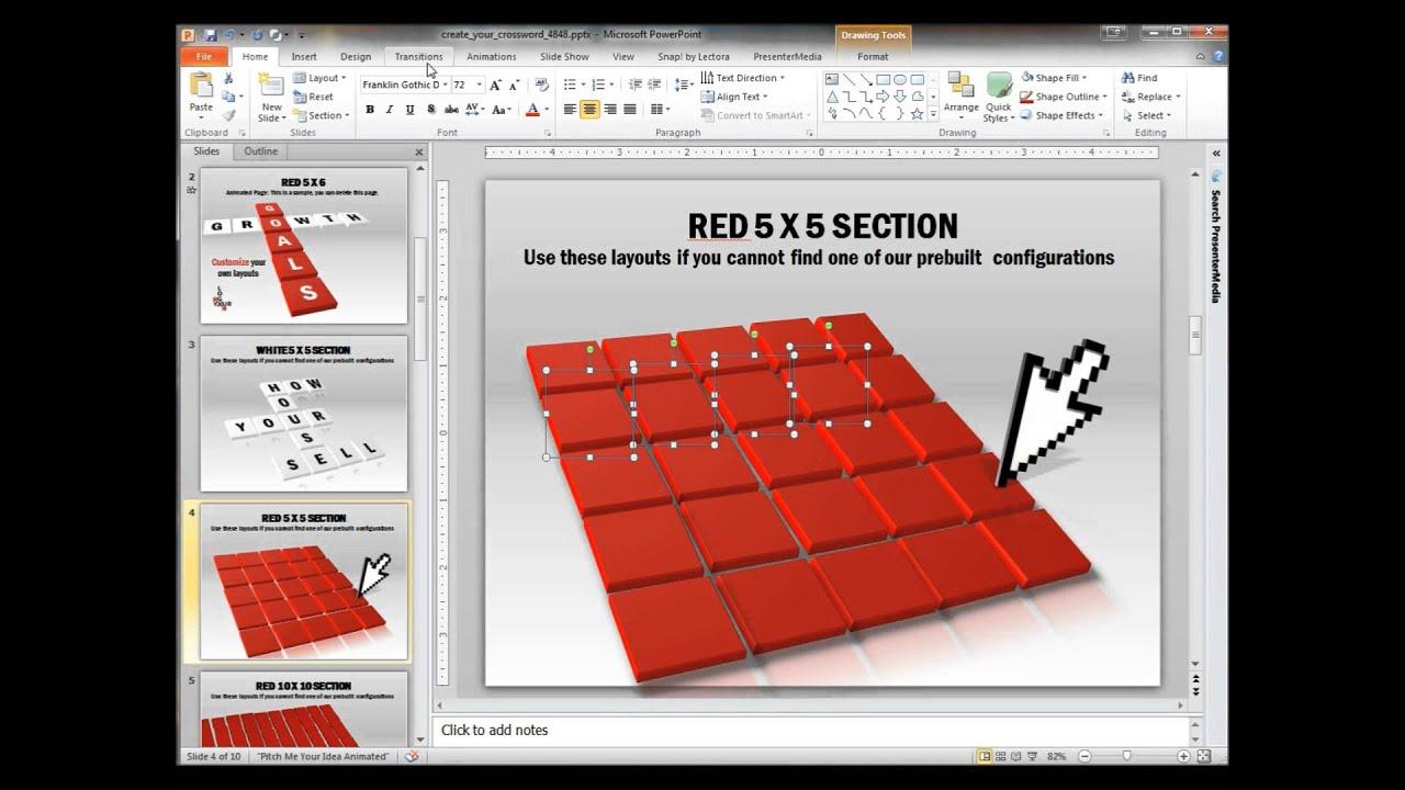 Как сделать кроссворд в презентации powerpoint