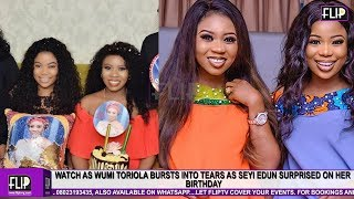 WATCH AS WUMI TORIOLA BURSTS INTO TEARS AS SEYI EDUN SURPRISED ON HER BIRTHDAY