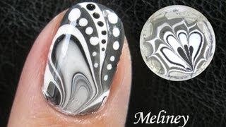 WATER MARBLE Nail Art Tutorial -  Black & White Design How to Basics Techniques 水染彩繪美甲