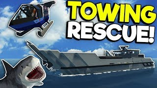 SHARK ATTACKS DURING TOWING RESCUE! - Stormworks: Build and Rescue Gameplay - Sinking Ship Survival