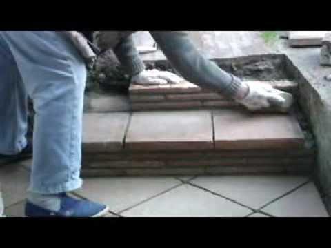 Escalera formaci n de dos pelda os r sticos con material - Material para escaleras interior ...