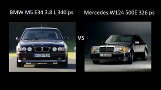 BMW M5 E34 3.8 340 ps vs Mercedes 500E w124 326 ps drag acceleration разгон ускорение