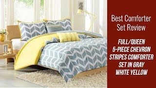 Comforter Set Review - Full/Queen 5-Piece Chevron Stripes Comforter Set in Gray White Yellow