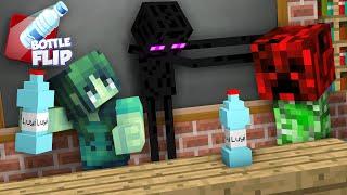 Monster School Girls Vs Boys Bottle Flip Challenge Minecraft Animation