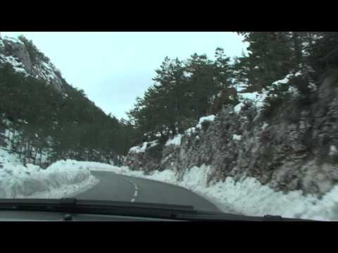 Scenic winter drive from Cannes to Gréolières les Neiges, Southern France