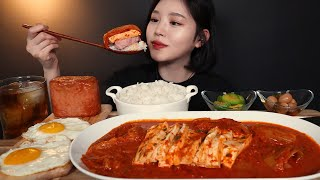SUB)두부김치찜에 통스팸 흰쌀밥 먹방 ! (ft.계란후라이) 집밥 리얼사운드 kimchijjim spam mukbang housemeal ASMR
