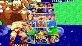 Marvel Super Heroes vs. Street Fighter-Zangief-Akuma Team vs Boss team