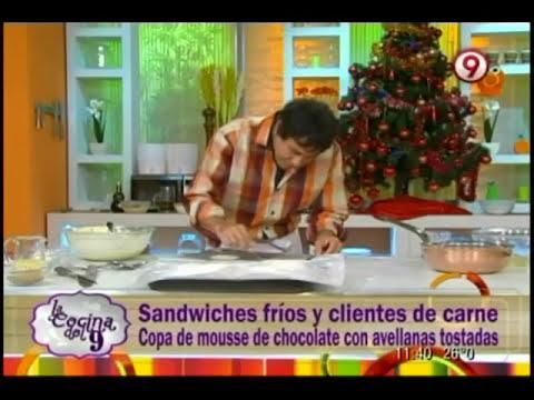 Sandwiches fríos y calientes / Copa de mousse de chocolate con avellanas tostadas