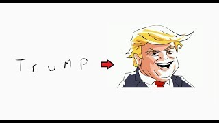 How to turn words TRUMP into a Cartoon