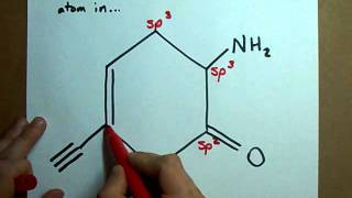 What is the hybridization of each atom in this molecule?