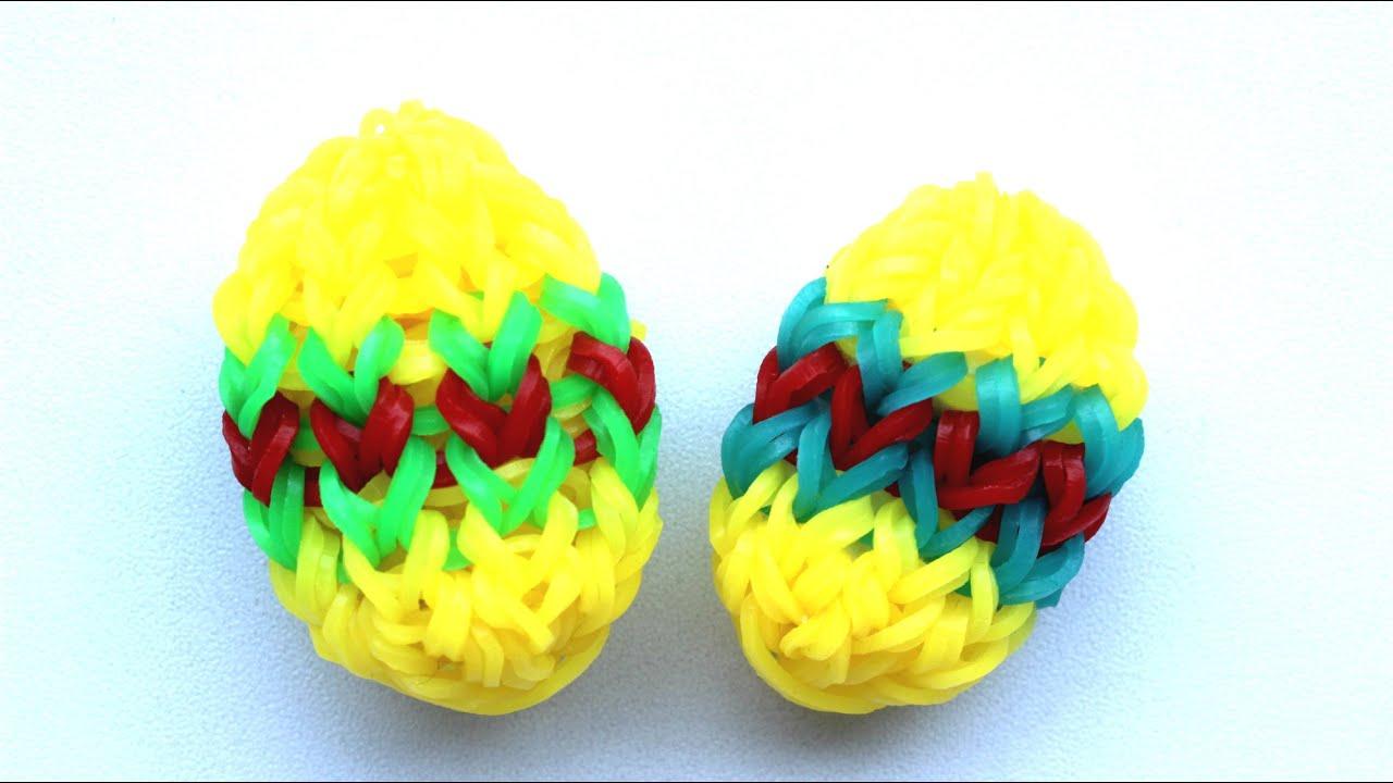 Как плести яйцо резинками