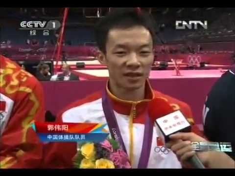 Interview of chinese men team after team final of London Olympic Games Gymnastic