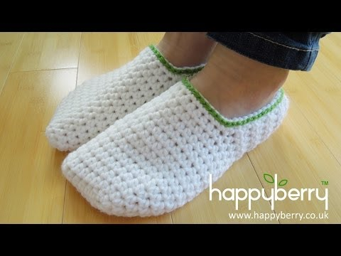 Crochet  How To   Crochet Simple Adult Slippers For Men Or Women