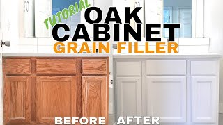 REMODEL HACK: Hide Grain on Oak Cabinets