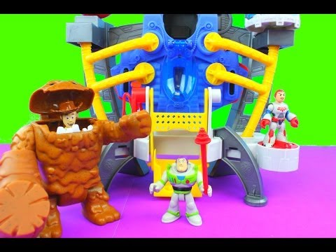 Imaginext Alpha Explorer helps Toy Story Buzz Lightyear & Woody gets eaten by Clayface