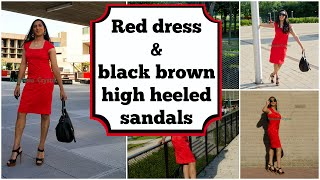 Crossdresser - red dress and black brown high heels sandals at the campus - part 1 | NatCrys