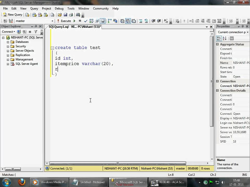 sql server 2008 simple create table query youtube