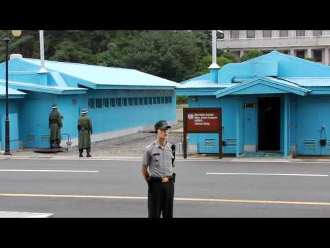 North Korean guards marching at Panmunjom, DMZ