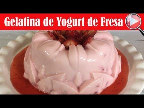 Gelatina de Yogurt de Fresa / Receta Facil - Recetas en Casayfamiliatv