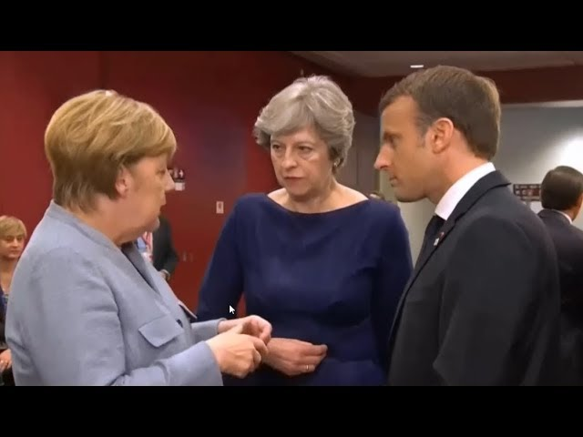 May, Macron  Merkel share hushed conversation in Brussels