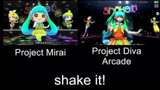 Project Mirai shake it! PV Comparison 3DS Arcade
