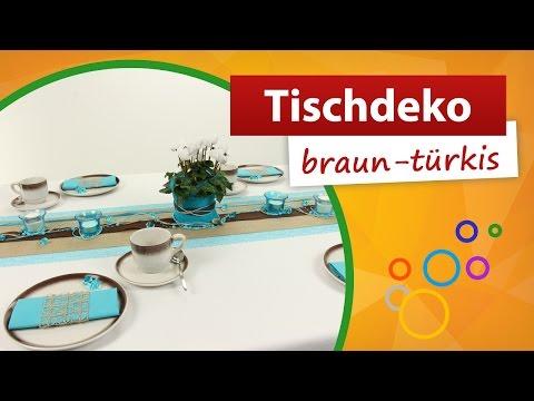 ♥ Tischdeko Türkis Braun ♥ Tischdekoration - Trendmarkt24