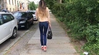 Lara Abschluss Leipzig Vlog High Heels Plateau beige rot Public Stöckelschuhe Platform Pumps Jeans