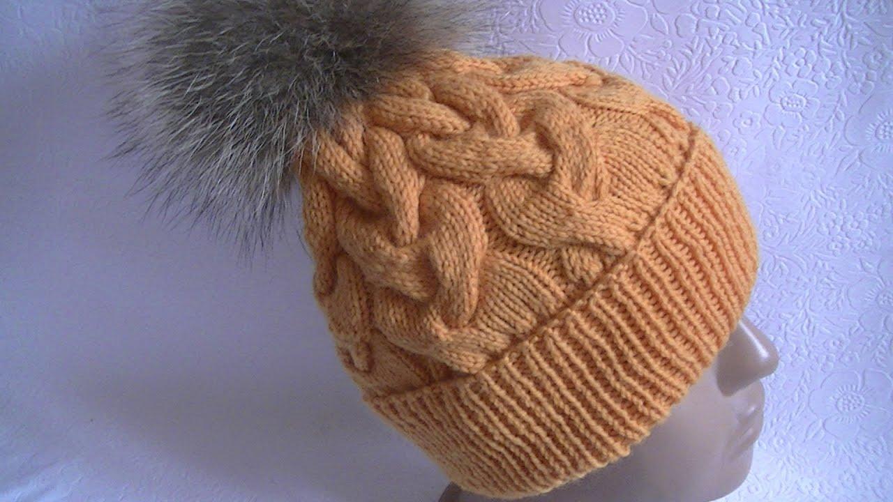 Вязание шапочки с косой 82
