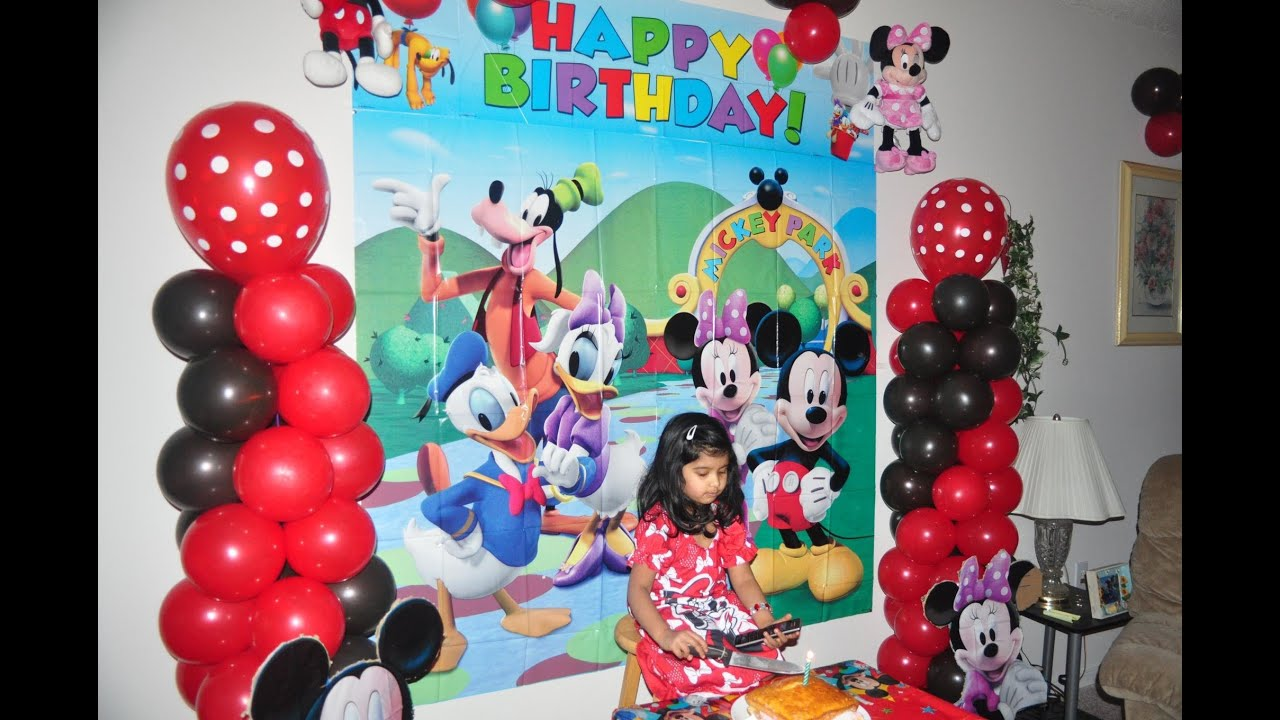 Samayera 39 s mickey mouse bday party birthday decorating for 1st birthday hall decoration