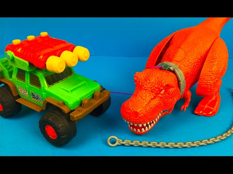 Matchbox on a mission Dino Trapper Trailer Dinosaur Toys for kids Talking TRex