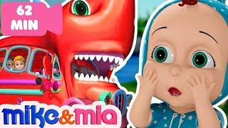 Baby Shark Wheels On the Bus | Baby Shark Doo Dooo | Nursery Rhymes by Mike and Mia