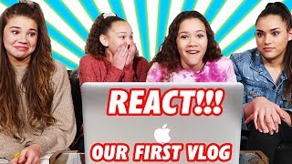 Reacting To Our First VLOG Ever | The Sister Tag