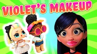 Incredibles Violet Gets a Makeover and Learns Colors with the LOL Surprise Dolls 80's BB and Foxy!
