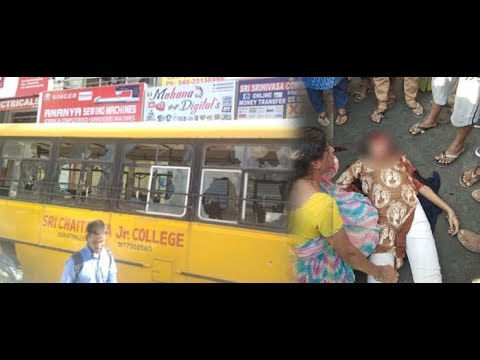 Inter Student Crushed (spot dead) Under Sri Chaitanya College Bus in Kukatpally