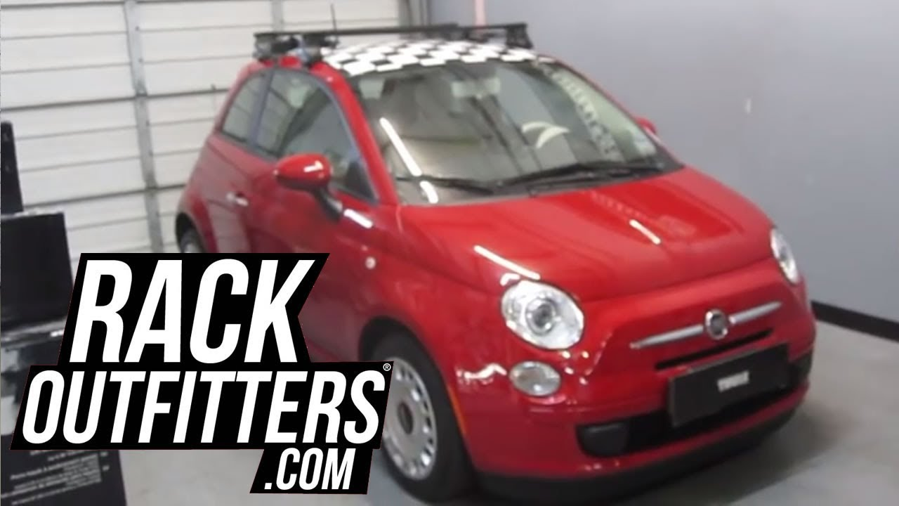 2012 Fiat 500 With Thule 480 Traverse Square Bar Roof Rack