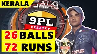Krushna Satpute Batting |  72 Runs in 26 Balls | 9pl Cricket - Kannur , Kerala