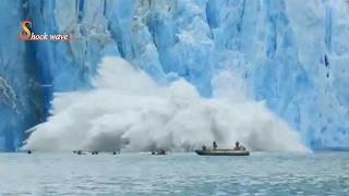 Shocking huge glacier calving creates massive tsunami wave 2017 | shock wave
