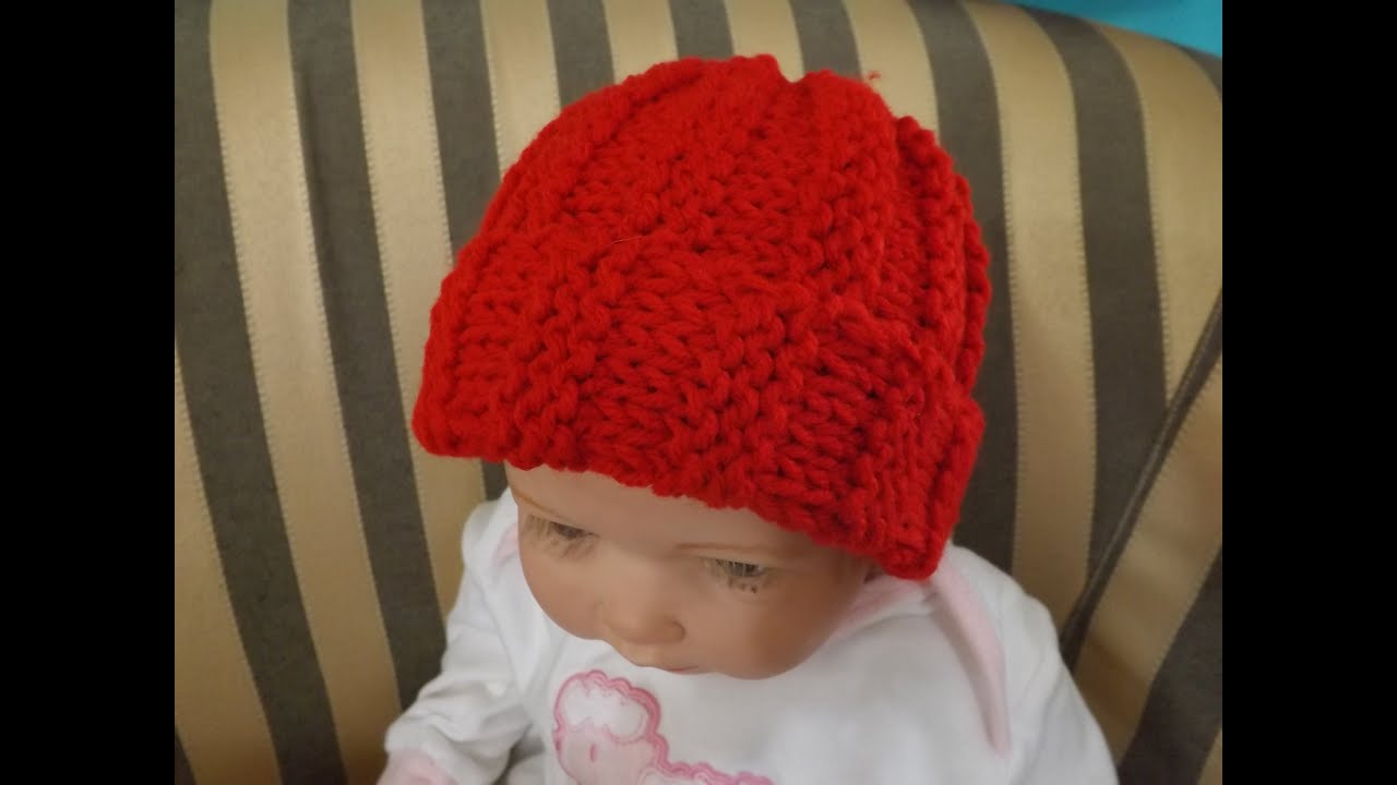 How to knit a Baby Hat or Beanie, Ribbed Stich - YouTube