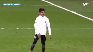 Cristiano ronaldos son scores first goal for real madrid