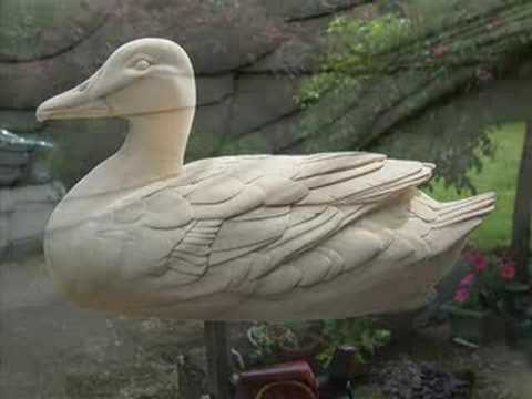 Decoy duck woodcarving