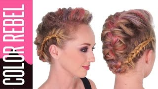 Coloration temporaire Color Rebel Redken + Coiffure chignon tresse africaine